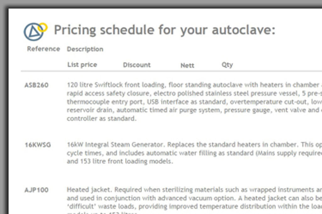 Astell autoclave price quotation