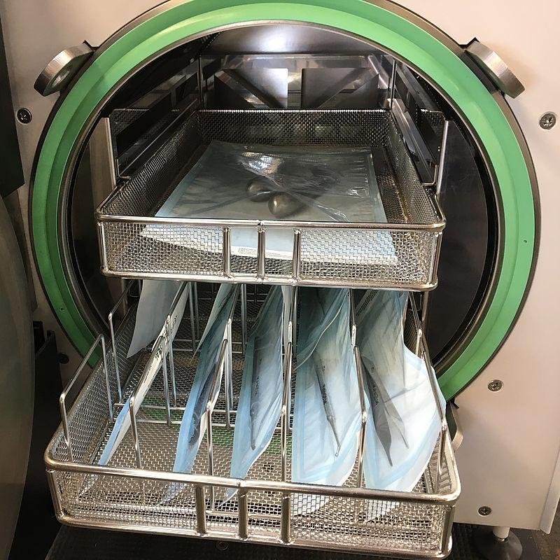 Solid metal instrument sterilization load
